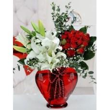 Kalp Lilyumlar ve Güller